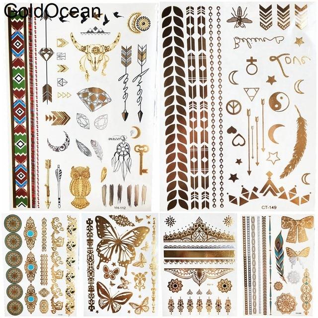 Summer Arrow Gold Metallic Temporary Tattoo Stickers Girls Body Arm Art  Flash Gadgets Tatoos Women Hand Finger Face Tattoo Chain dfffd2e9b9b1