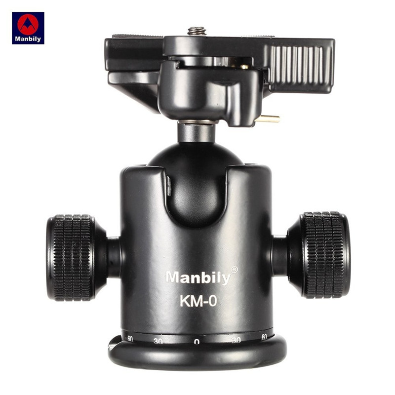 Manbily KM-0 Professional Camera Tripod Head Ball Photography Ballhead Aluminum With Quick <font><b>Release</b></font> Plate Screw for Canon Nikon