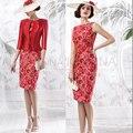 Последние дизайн красный мать невесты платье костюмы вечернее платье вечерние платья элегантный vestidos пара ла пласа-мадре de la novia VL15