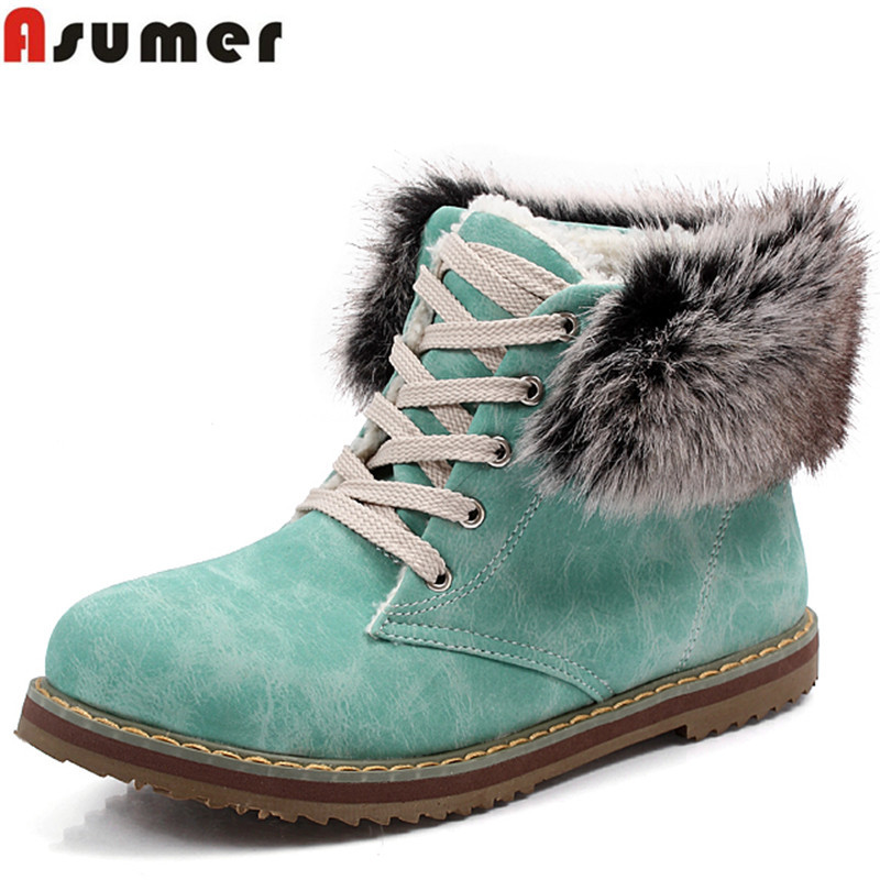 ASUMER Plus size flats keep warm fur snow boots lace up round toe lovely women ankle boots pink blue beige winter boots shoes lg sb36