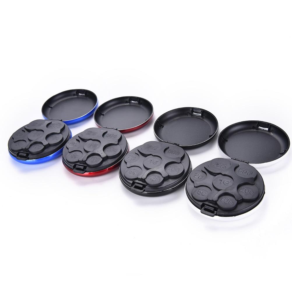 Wallet-Holders Storage-Box Coin-Dispenser-Storage Coins Plastic Round Aluminum-Alloy