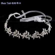 SEP Classic Rhinestone Crystals Soft Lace Leaves Headband Hair Chains Head Chain Bride Wedding Hair Jewelry Accessories HB1015