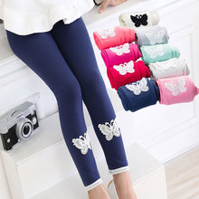 Butterfly Pattern Lace Leggings For Girls 2017 New Brand Spring Autumn Korean Cotton Children's Clothing Pants Colorful Hot Sale