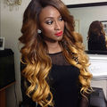 Fashion cheap Ombre Mint / Brown Blonde Ombre Wave Synthetic Lace Front Wig Heat Resistant For Black Women