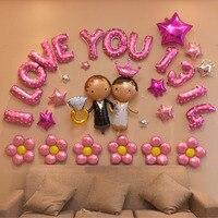 Happpy poślubił ślub urodziny strona dekoracji list serce balon metaliczny aluminium pakiet zestaw