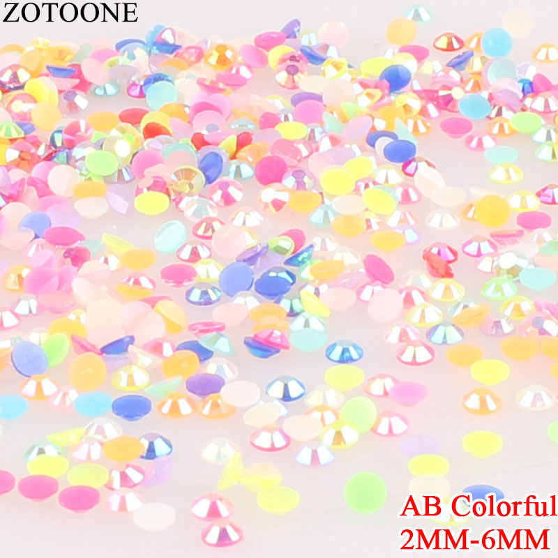 Zotoone 1000Pcs Crystal AB Colorful Rhinestones 2 Mm Perekat Termal Berlian Imitasi Hotfix Pipih Berlian Imitasi untuk Dekorasi Nail Art E