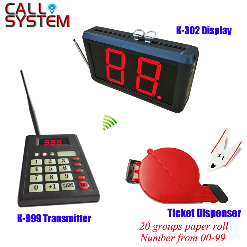 Hospital/clinic wireless paging calling system queue management 1 keypad 1 number screen 1 ticket dispenser