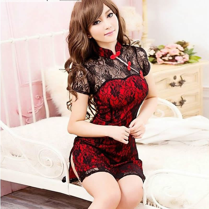 Sexy Mini Qipao Dress Short Package Babydoll Underwear Lace Cheongsam Transparent Lingerie Girl Summer Erotic Costumes Dress girl