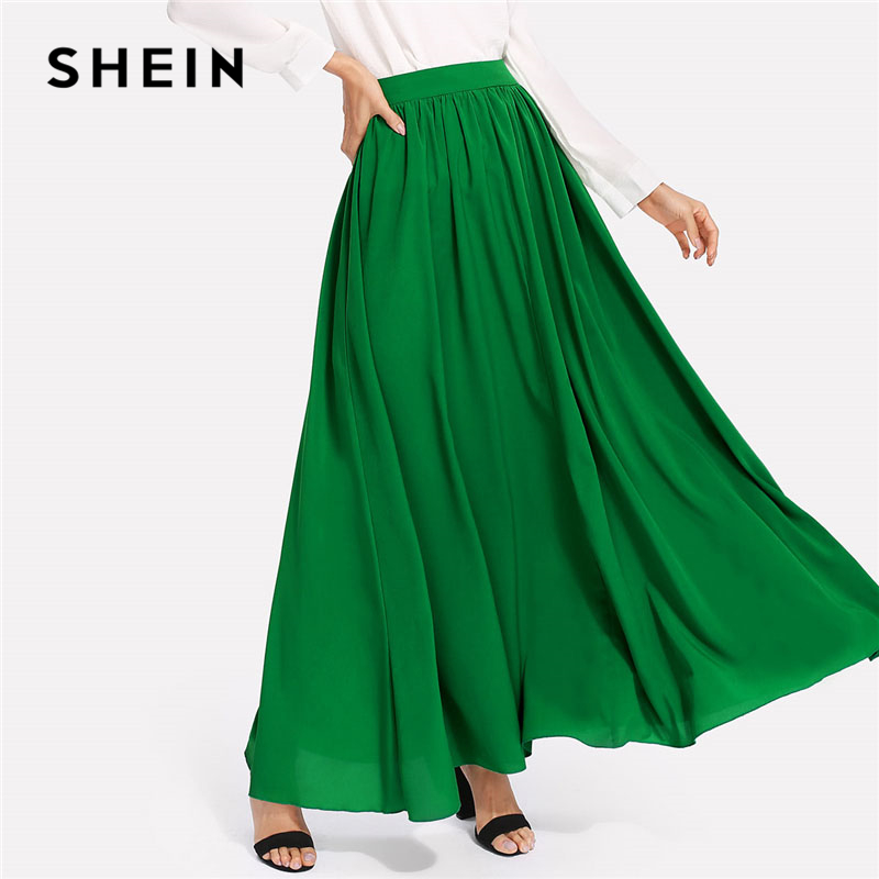 SHEIN Green Hidden Zipper Back Solid Skirt Women Casual Mid Waist Oversized Maxi Skirt 2018 Spring Plain Long Skirt