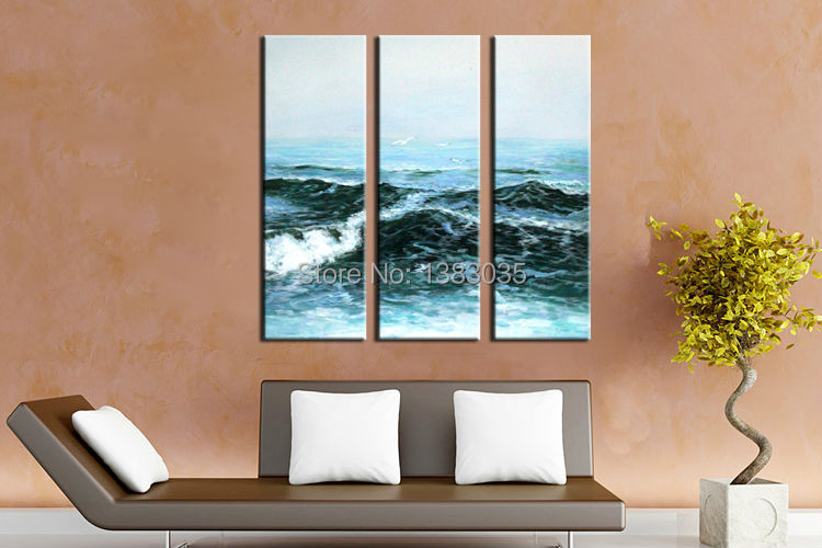 Hand painted 3 piece canvas wall art ocean wave painting for Home decor on highway 6