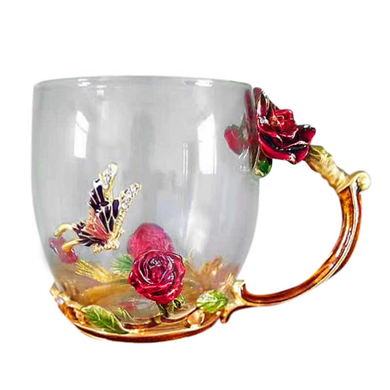 TENSKE 1PC High-grade Crystal Glass Teacup Heat-resistant Coffee Cup Office Cup Creative Gift Enamel Glass Drop Ship Mar27