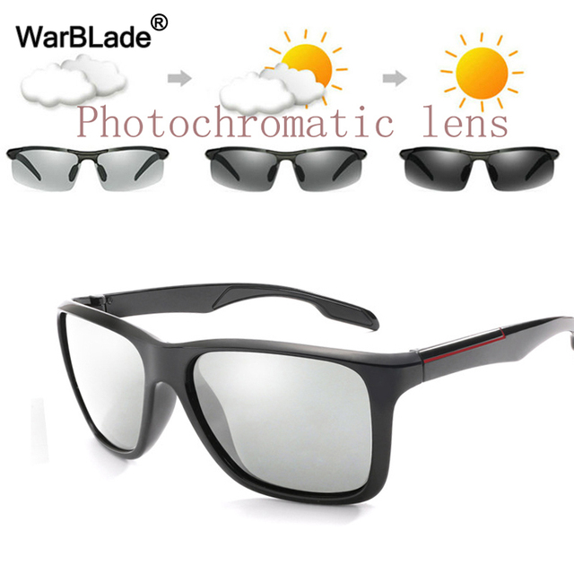 3a08fcf3a14 WarBLade New Fashion Photochromic Sunglasses Men HD Polarized Chameleon Sun  Glasses Glare Block Driving Discoloration Sunglasses