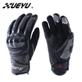 Xueyu 2017 cuero de la motocicleta guantes llenos del dedo del zurriago motocicleta guantes luva moto guantes de competición de fibra de carbono shell