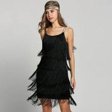 Abiti Vintage 1920s Flapper Ragazza del Vestito Operato Dal Grande Gatsby Vestito Costumi Slash Collo Strappy Frangia Altalena Vestito Da Partito Delle Donne