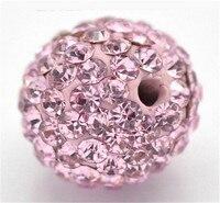 10MM50Pcs Light Rose Pink A Disco Balls Polymer Clay Beads Pave Czech Crystal Rhinestones Shamballa Beads