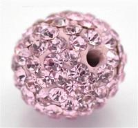 10MM50Pcs Light Pink Rose Um +++ Contas Polymer Clay Pave Checa Pedrinhas Cristal Disco Balls Shamballa Beads Spacer Beads
