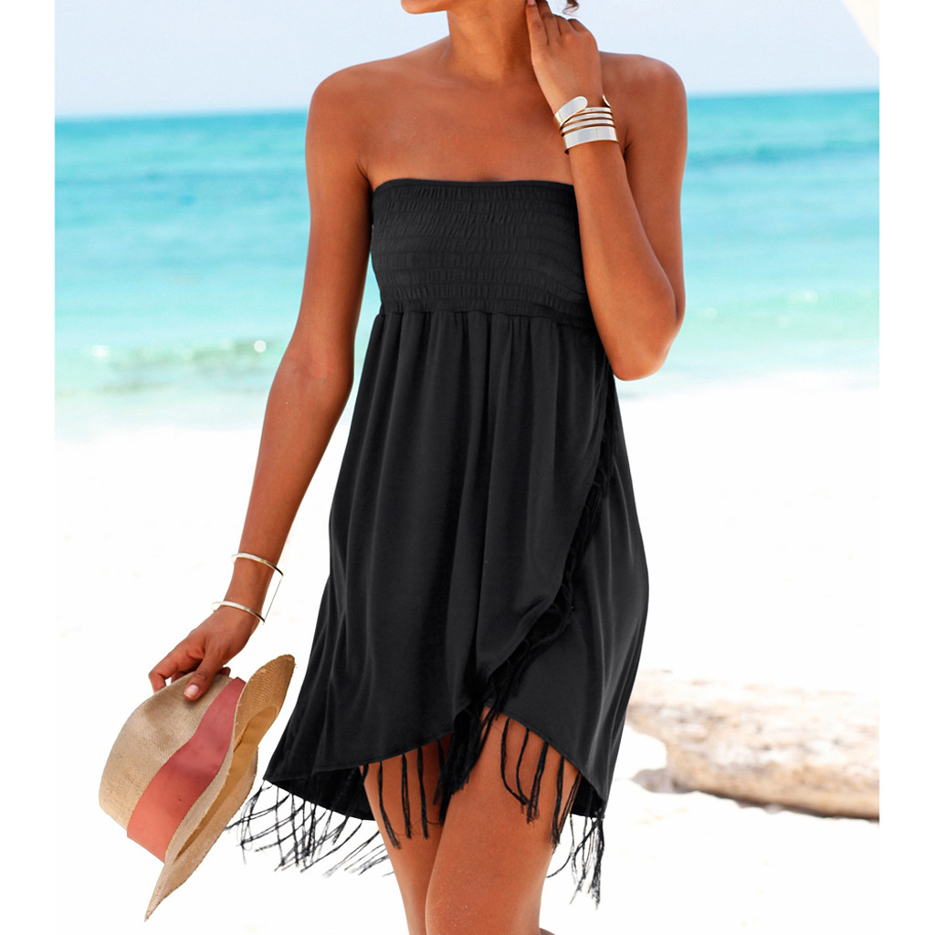 Women Summer Dresses 2019 Casual Party Dresses Solid Off The Shoulder Tassel Dress Summer Beach Dresses Casual Beach Vestidos