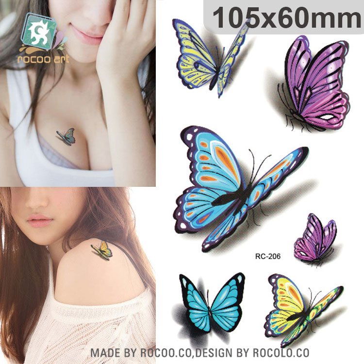 Rocooart Colorful Butterfly Fake Tattoo Sleeve 3D Taty Women Waterproof Temporary Tattoo Sticker Tatuaje For Shoulder Ankle Arms