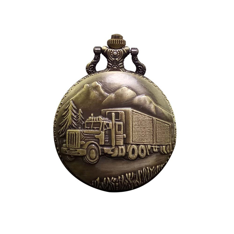 Unique Retro Large Forest Car Steampunk Quartz Pocket Watch Antique Bronze Truck Men Women Necklace Pendant Clock With Chain vintage antique carving motorcycle steampunk quartz pocket watch retro bronze women men necklace pendant clock with chain toy