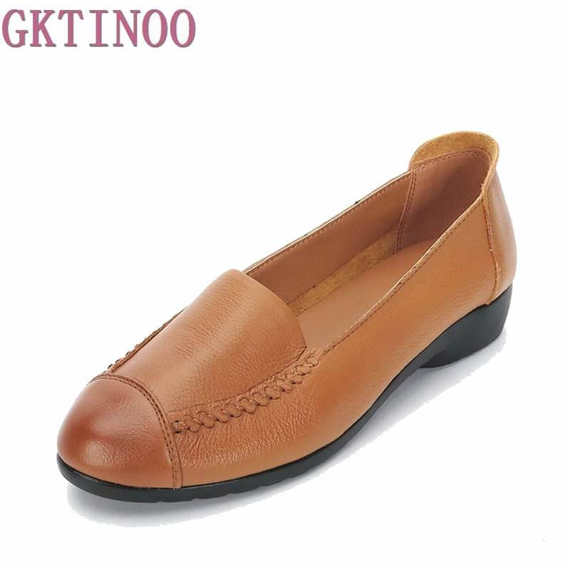 2017 Spring And Autumn Women Flats Fashion Genuine Leather Flat Shoes Woman Soft And Comfortable Loafers Women Shoes flats new women s shoes in spring and summer 2017 will be able to make comfortable and sweet flat footed women s shoes