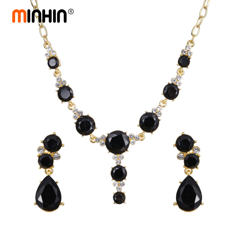 MINHIN Luxury Gold-color Crystal Jewelry Sets Choker Necklace Drop Earrings Set For Women Charm Pendant Wedding Sets