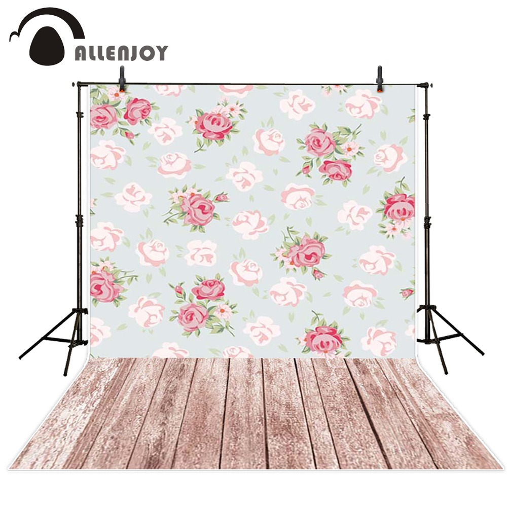 Allenjoy Photography background Wall Flower wooden floor baby princess fabric computer printed backdrops 2017 new summer girls rose dress princess kids wedding dresses sequins girl clothes clothing christmas children party costume