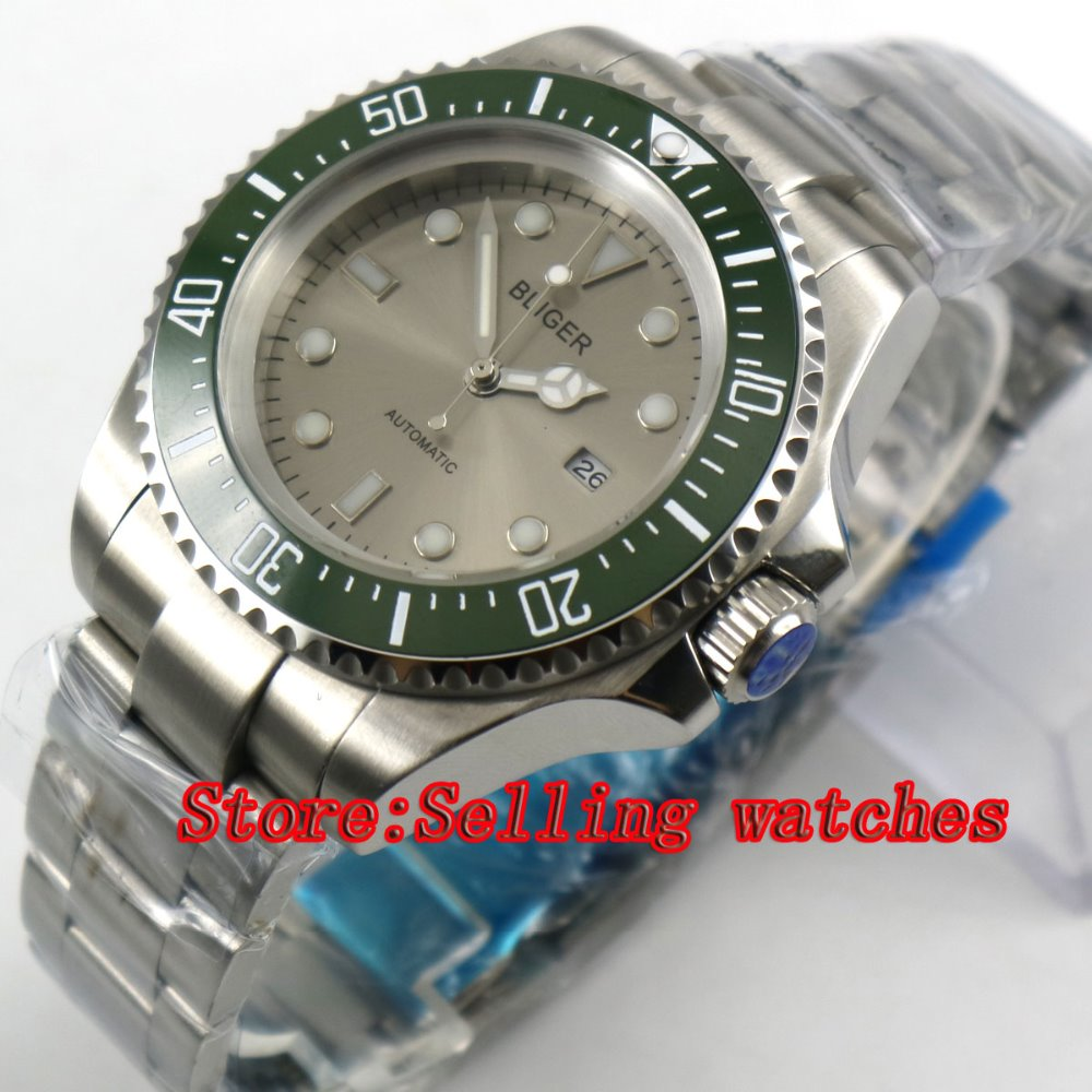 44mm Bliger Gray Dial green Ceramic bezel Sapphire Crystal Date Window Automatic Movement Men's Mechanical Wristwatches 44mm bliger gray dial blue ceramic bezel sapphire crystal automatic movement men s mechanical wristwatches