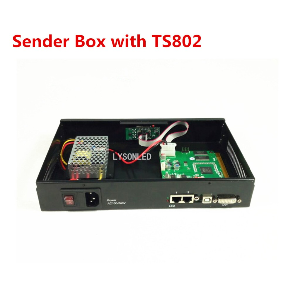 LYSONLED 2017 Special Offer Led Video Screen Sender Box With Linsn TS802D Sending Card And Meanwell Power Supply Included