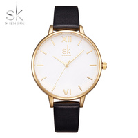Shengke Fashion Brand Women Watches Leather Strap Women Wristwatch Lady Luxury Dial Watches Quartz Clock Relogio