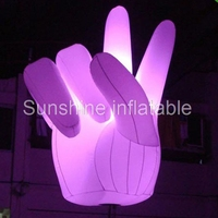 2017 hot selling led lighting inflatable hand balloon cheer hand replica finger shape for advertising