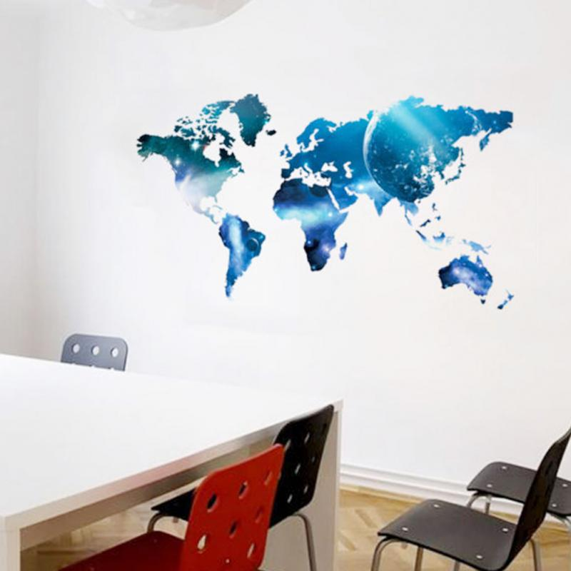 Newest fashion blue world map wall sticker star style mural decals newest fashion blue world map wall sticker star style mural decals art decor living room in wall stickers from home garden on aliexpress alibaba gumiabroncs Choice Image