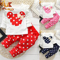 Monkids 2017 marca a roupa dos miúdos menina bebê minnie ternos casuais de algodão de manga longa coelho roupas de bebê recém-nascidos de varejo conjunto de roupas