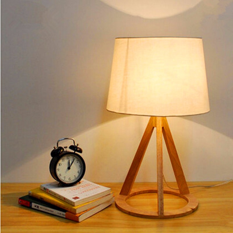 Cottage Style Wooden Table Lamp 51*30cm E27 Wood Textile White Lampsade Desk Light For Study Room Bedroom WTL011 teaching elementary mathematics