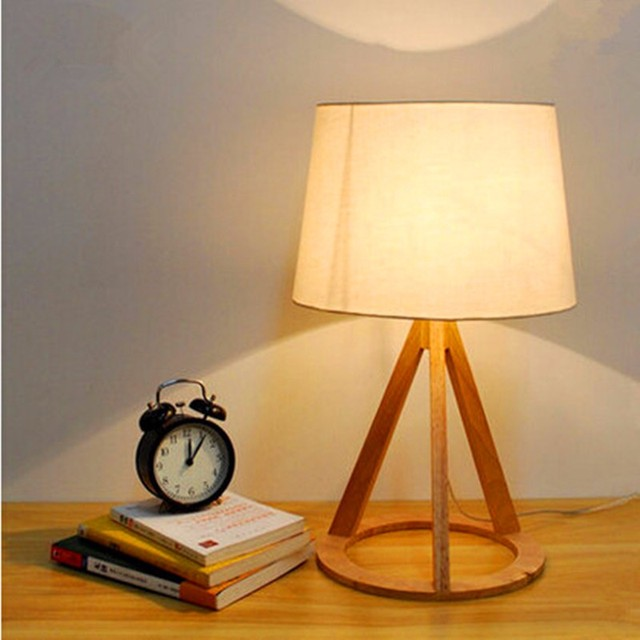 Cottage Style Wooden Table Lamp 51*30cm E27 Wood Textile White Lampsade  Desk Light For