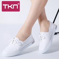 2019 spring women vulcanized shoes leather lace up white shoes ladies ballet flats female oxfords light sneakers shoes woman 695