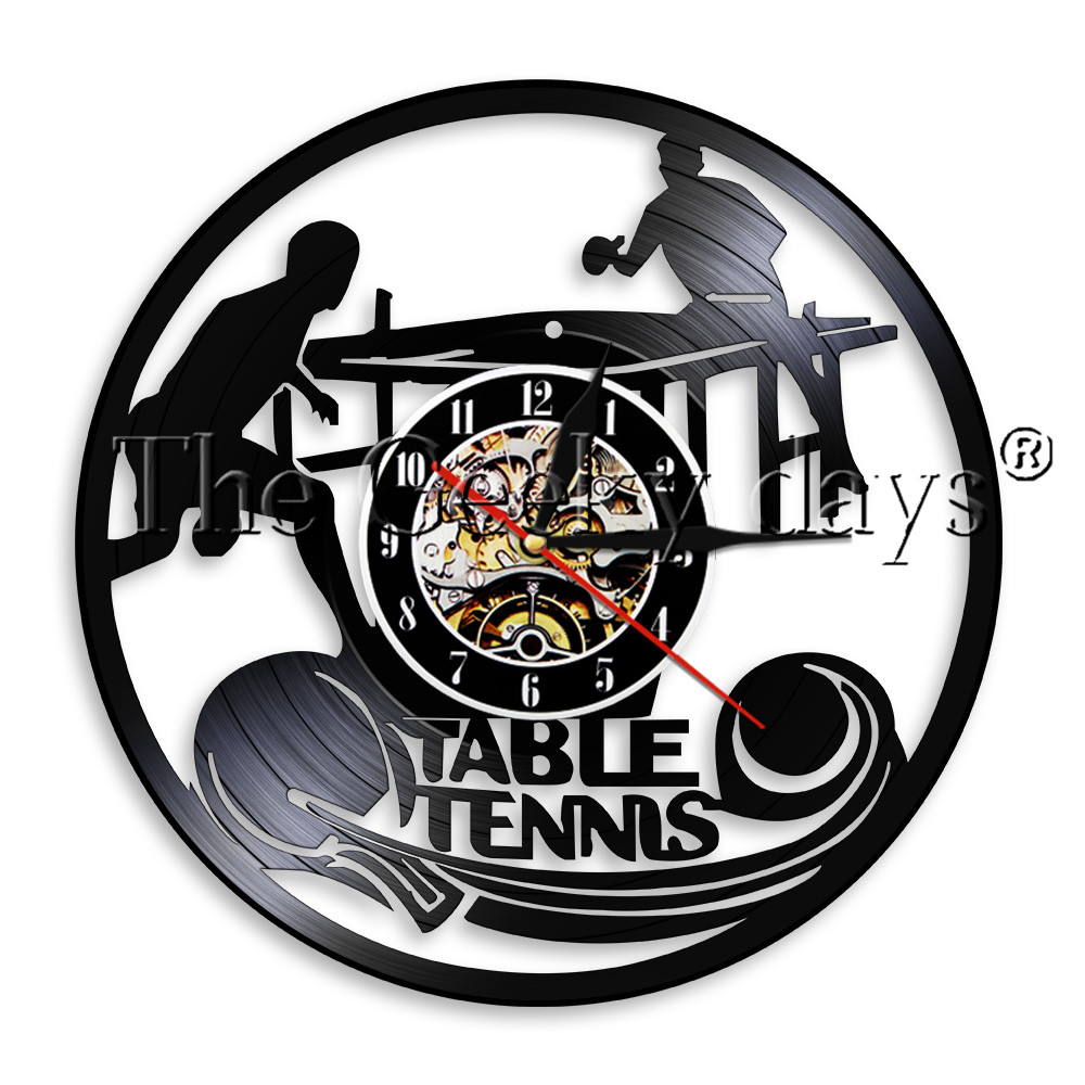 1Piece Play Ping Pong Wall Clock Vinyl LP Record Time Clock Table Tennis Game LED Light Sport Vintage Timepiece Wall Watch
