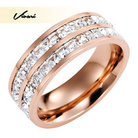 Vivari 2017 Romantic Unisex Stainless Steel Women Ring Shiny Rose Gold Color 70pieces Clear Crystal Men Jewelry Gift Accessories