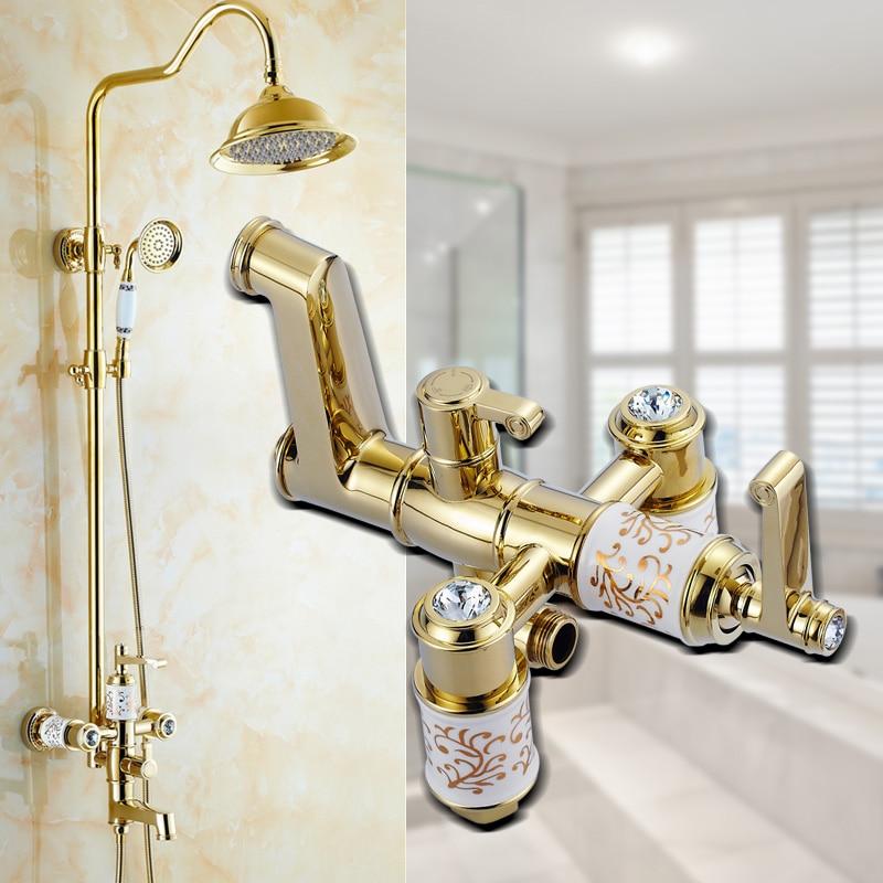 Gold Plated diamond shower faucet set doule shower head Antique rain shower faucet mixer tap Bathroom shower faucet wall mounted