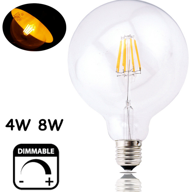 Dimmable LED G125 Filament Light Bulb G40 Vintage Edison Glass Bulb 4W/8W E26/E27 Base Clear Glass Light Big Global Indoor Lamp