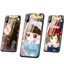 Cute Cartoon Girl Luxury Tempered Glass Soft Silicon Mobile Shell Applicable to the iPhone 6S 7 8 Plus x XR XS Max