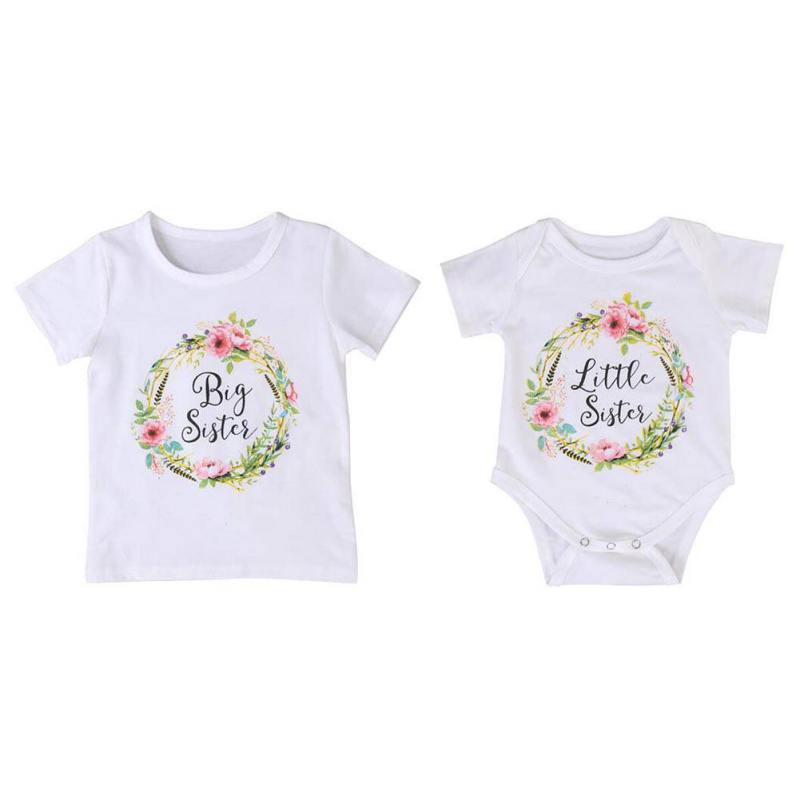 Baby Girl Summer Outfit Clothes Hello Kitty T-shirt Tops Kids Clothes Minnie Little Big Sister Family Look Jumpsuit Romper
