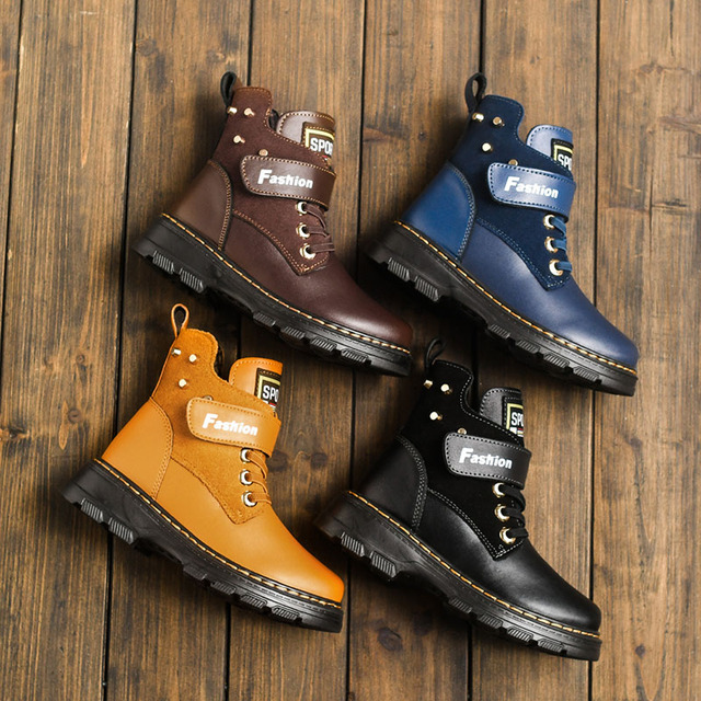 Children Boots Autumn And Winter Leather School Boy Shoes Fashion In The Calf Snow Boots Plush Warm Waterproof Kids Martin Boots
