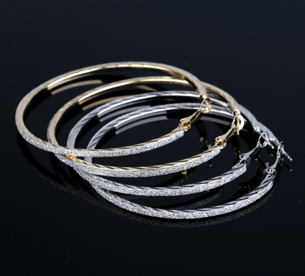 Personality Gold Silver Plated Frosted Woman Earrings Big Ear Hoop Trendy Charming Jewelery