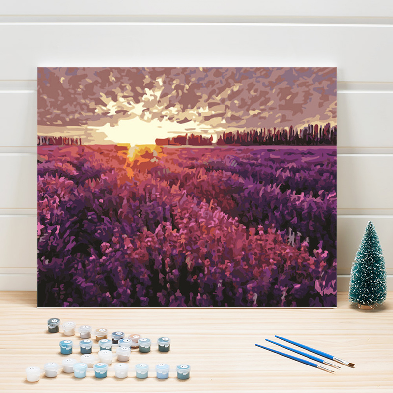 Paint By Numbers One Piece On Linen Canvas Painting Landscape Pastoral Acrylic Coloring Wall Pictures For Living Room Arts Craft