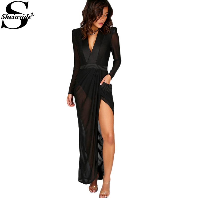 Sheinside Sexy Wrap Sheer Club Dress Women Black Deep V Neck Shoulder Pads Maxi Dresses 2017 Casual Long Sleeve Dress by Sheinside