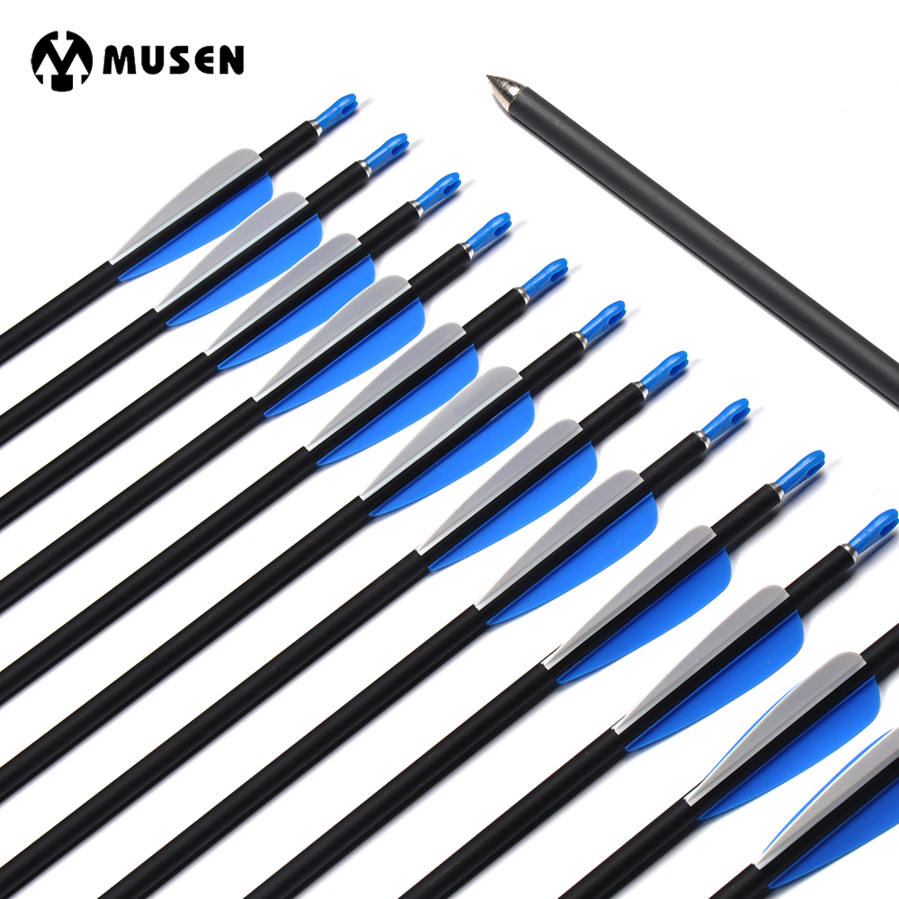 6/12/24pcs 30inch OD7mm Spine 700 Carbon Arrows For Compound/Recurve Bow Archery Hunting Shooting