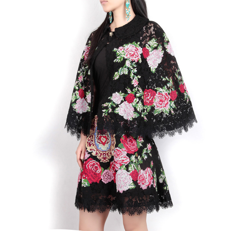 High Quality 2017 Autumn Women Fashion Black Embroidery Suit Sets Cloak Sleeves Tops/coat+Embroidered Lace Skirt 2 Piece Set