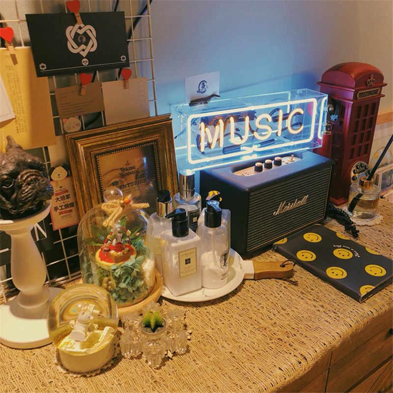 Custom Made Acrylic Box Neon Sign Tube Light Real Glass Tube Handcraft Lighting For KTV  Pub Bar Store Light US Plug AC220V 110V