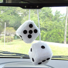 2 X White Car Hanging Mirror styling 2 75 Plush Fuzzy Funny Dice Interior Accessories car