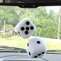 2pcs/lot White Car Hanging Mirror styling 2.75'' Plush Fuzzy Funny Dice Interior Accessories car-styling Ornaments  EA5044